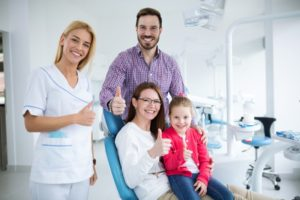 Family visiting their Rochester children's dentist